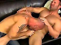 Mature pornstar Mitch Vaughn sucking on a hard cock