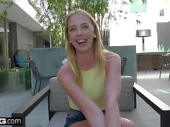 Bisex teen Chloe Scott ditches class to play with her hitachi
