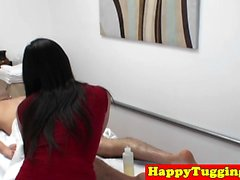 Cute asian masseuse cockriding her client
