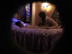 Slutty Oriental wife gets caught working her sexy lips on a