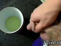Teen 6 inch gay sex He's jerking his penis into a bucket for
