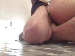 Under stall bareback fuck