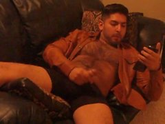 Beige Leather Jacket Hairy Latino Dirty Talk Sexy Male Webcam Show 4 Fans 2