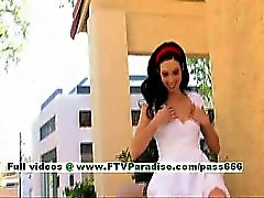 Sophie superb brunette girl public flashing tits and pussy