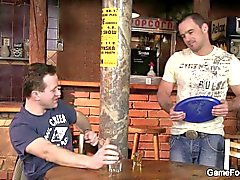 Straight bartender rides his first gay cock