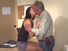 Fat old dude fucks a skinny teen in the office