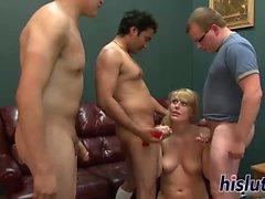 Kinky blonde pleasures multiple hard boners