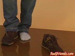 Cute Asian foot fetishist tugging hard and cumming hard