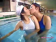 2 Asian Girls In Swimsuit Kissing Spitting At The Swimming Pool