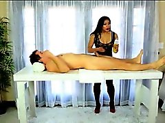 Sexy Asian masseuse Mia Li footjobs and fucked by client