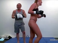 Ronda Rousey lookalike Alyssa Cole training for UFC and Masturbating