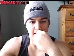 Perfect Webcam Teen Sucks His Cock