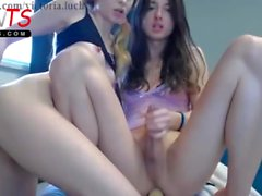 Cute Vica big cock and blonde Mila fucking on webcam