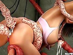 celeb áspero celebridade 3d de monstros tentáculo