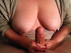 amateur big boobs handjob