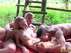 Bisex hunk pounds babe