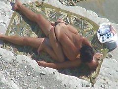 Voyeur Tapes Couple Fucking On Beach