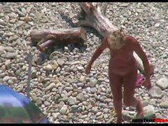 Mature nudist couple quick beach sex