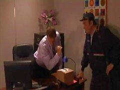 Horny maintenance man watches the boss bang the busty secretary