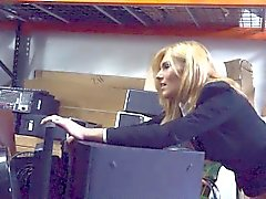 Blonde milf fucked in the storage room in exchange for money