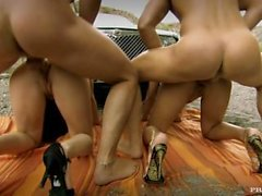 Judith Fox and Regina Ice orgy with anal and DP