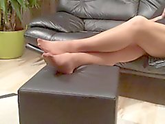 Long nylon feet play by my stepmom