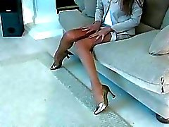 Super vixen widens legs in hose to expose vagina