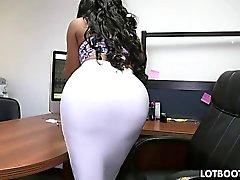 Thick ass black secretary and white prick