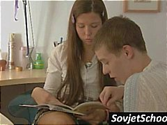 Sexy Russian schoolgirl stops working and gets kissed and fondled
