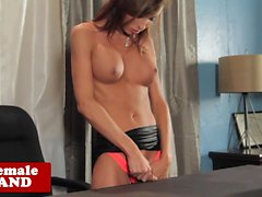 Office tranny jerking her hard cock