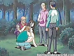 Pervs bound and fuck anime mistress in park