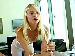 Blonde teen relaxes with a rub down and swallow
