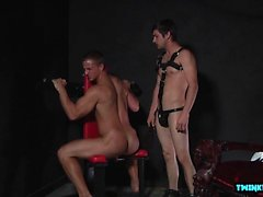 Big dick twink spanking and cumshot