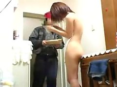 Petite Japanese chick with a pretty smile flashes her splen