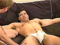 CBT Young stud with huge cock gets balls hammered and then squeezed in my vise