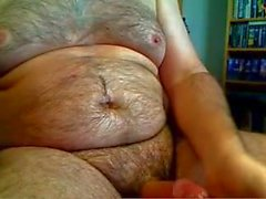 Fat daddy loves his belly and moans