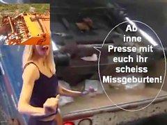 Latex Maid Luder pressen scheiss Transvestitenschwen im Müllpresswagen tot