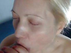 Milf Blonde Blowjob and Cum in Mouth