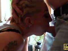 Tattooed amateur sub analized by maledom