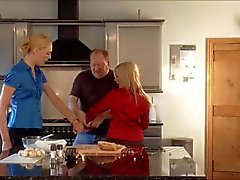 two blond girls in the kitchen