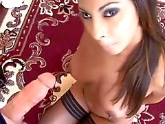 Hot brown girl fucks undeserving guy, gets dribble facial