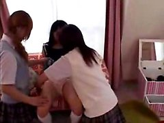 Adorable Japanese schoolgirls enjoying an exciting lesbian