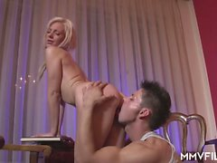 Hot German blonde with great tits enjoys hardcore boning by