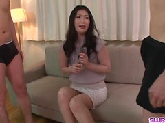 Naomi Sugawara throats two dicks than swallows big time