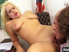 Blonde babe gets fucked in the classroom