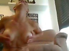 Hot blonde dildo show cum