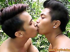 Outdoor twinks from asia fuck on a chair