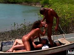 Natasha gets pounded on the shore