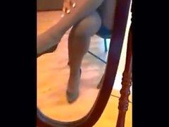 Brown 'No Nonsense' Pantyhose Crossed Legs & Dangle Tease