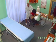 Bent over desk patient gets fucked